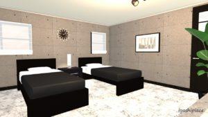 黒色をメイン色とした部屋