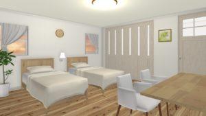 白色をメイン色とした部屋