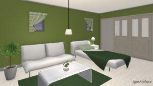 緑色をメイン色とした部屋