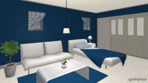 青色をメイン色とした部屋